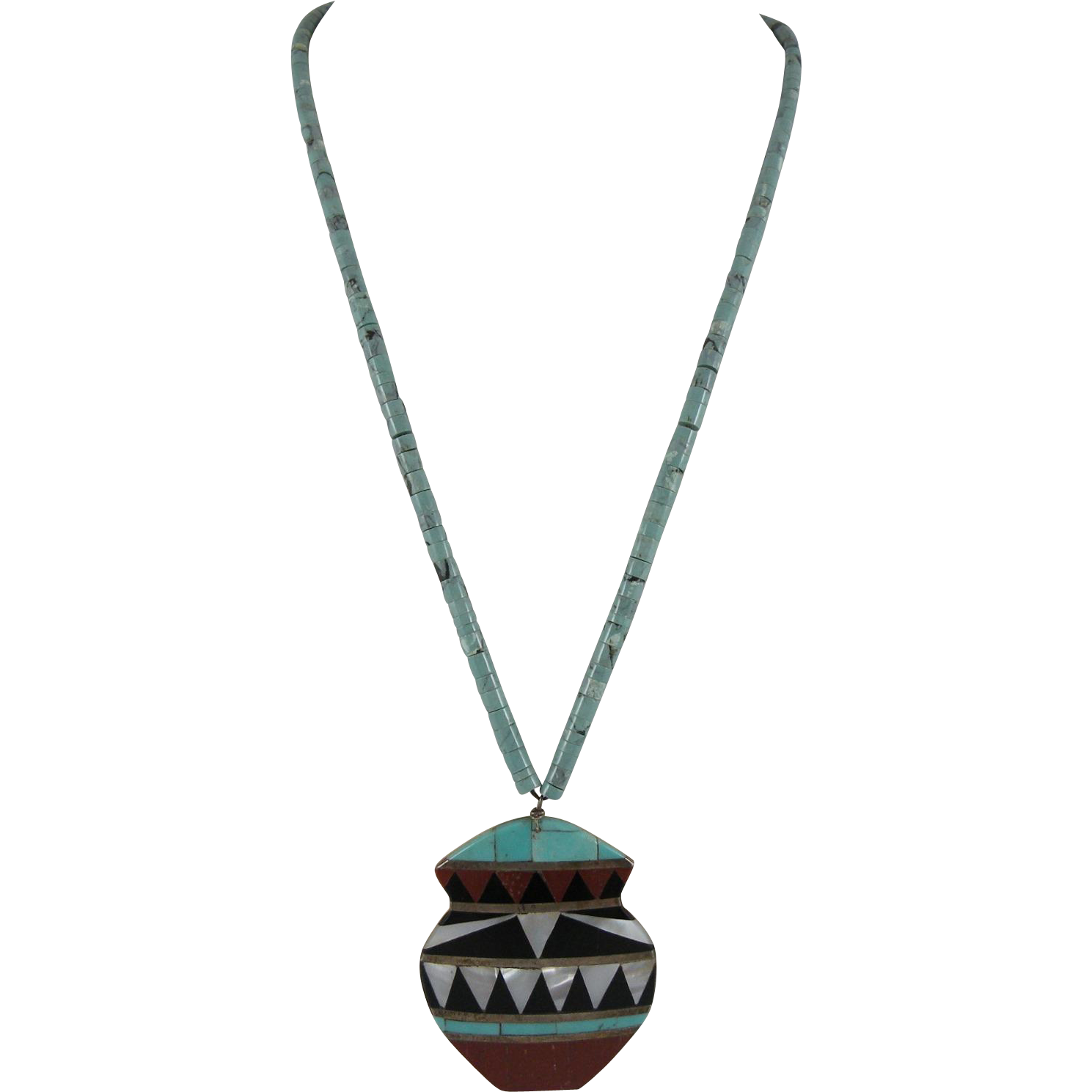 Santo Domingo Kewa Inlay Pot Necklace with Turquoise Heishi