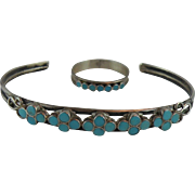 Dishta Zuni Cuff Bracelet with Flush Turquoise and Hallmark