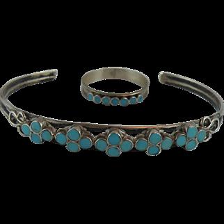 Dishta Zuni Cuff Bracelet with Flush Turquoise and Hallmark