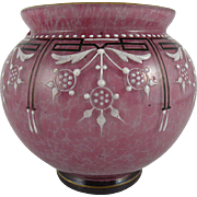 Antique Bohemian Pink Glass Vase Hand Enameled