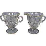 Fostoria Glass Heather Pattern Sugar and Creamer