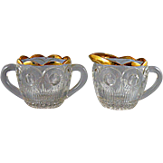 Bartlett Collins Manhattan Pattern Sugar and Creamer with Gold Enamel