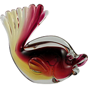 Archimede Seguso Murano Red Glass Fish 1960s