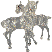 Swarovski Crystal Foals with Original Box Horses