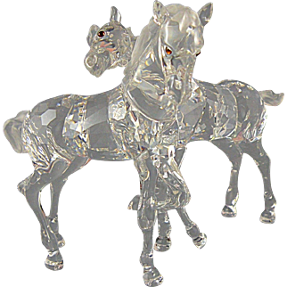 Swarovski Crystal Foals with Original Box Horses