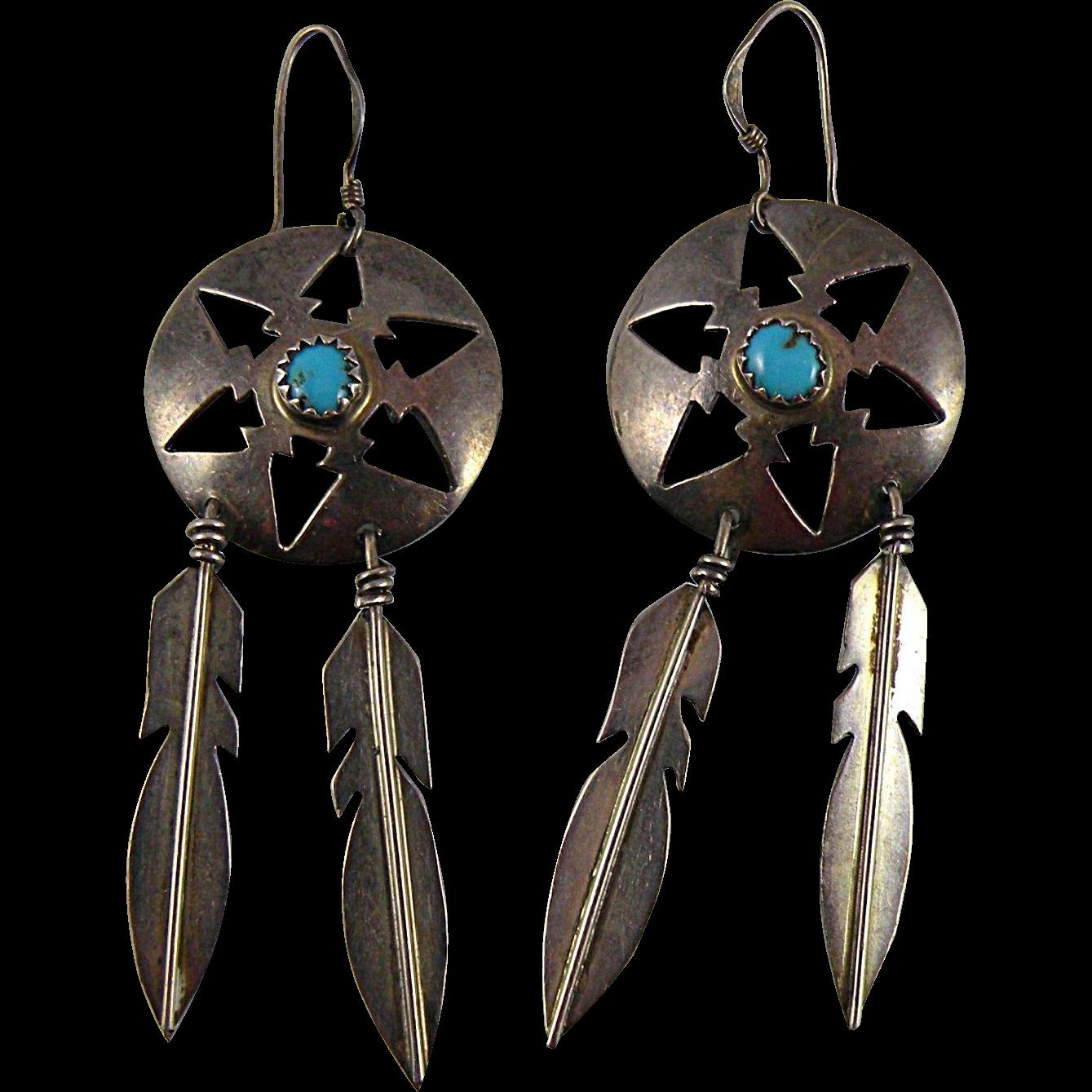 Donovan Skeets Navajo Sterling Silver Earrings with Turquoise