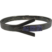 Taxco Sterling Silver Sugilite Hinged Bangle Bracelet from Mexico
