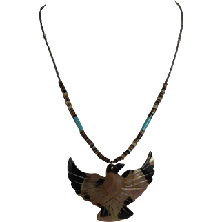 Southwestern MOP Eagle Heishi Necklace 17-inch