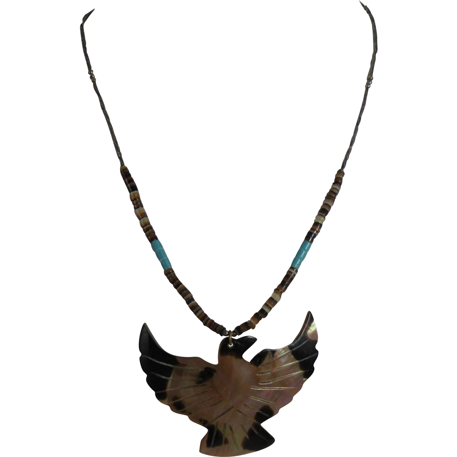 Southwestern MOP Eagle Heishi Necklace 17-inch