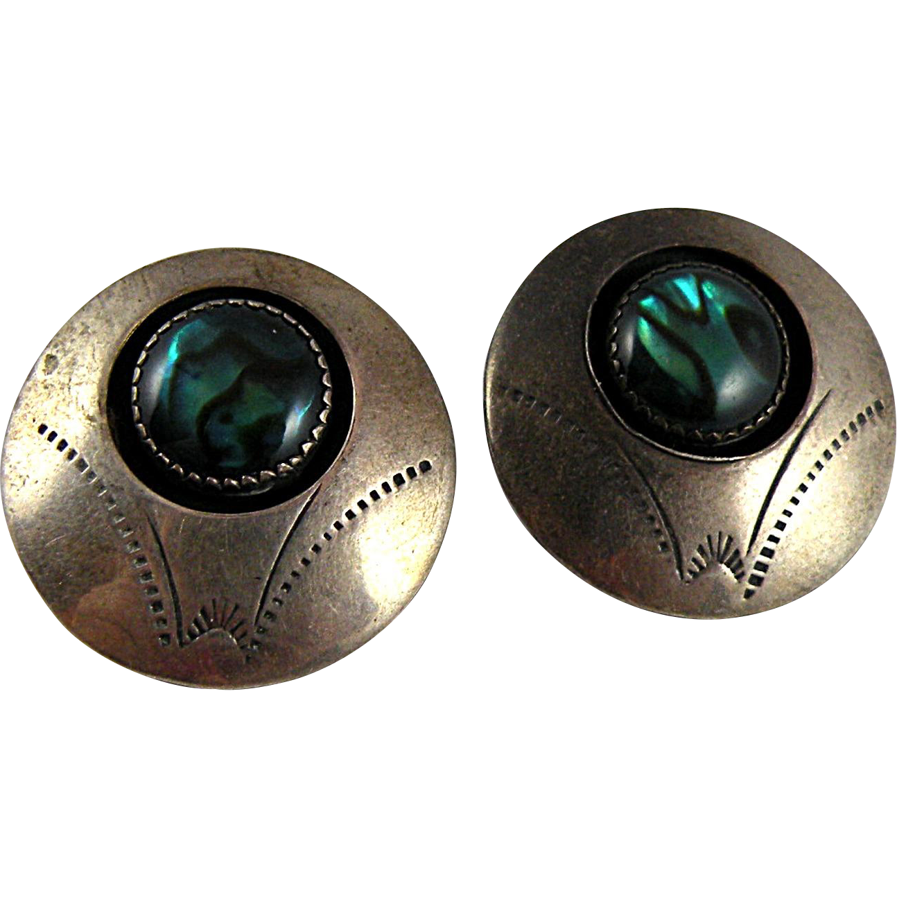 Vintage Southwestern Sterling Silver Earrings with Blue-green Shell