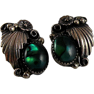 Vintage Southwestern Sterling Silver Earrings with Blue-green Shell and Frond