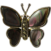Vintage Sterling Silver Abalone Butterfly Ring with Marcasite Size 6