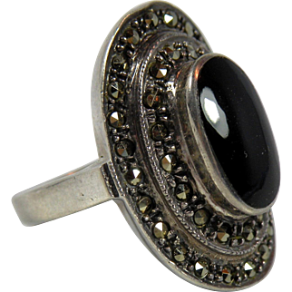 Vintage Sterling Silver Onyx Marcasite Ring Nida Thailand Size 6