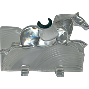 Daum Crystal Ming Race Horse with Pate de Verre Saddle