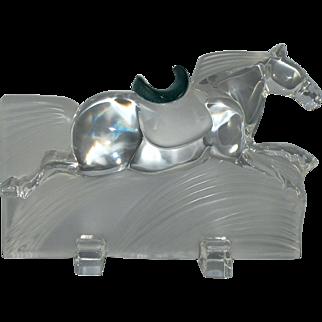 Daum Crystal Ming Race Horse with Pate de Verre Saddle