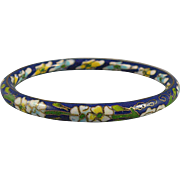Vintage Blue Cloisonne Bangle Bracelet