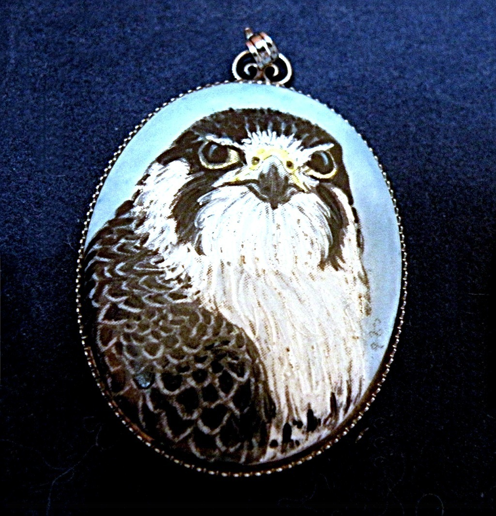 Signed Peregrine Falcon Bird Pendant Enamel on Blue Cabochon 1980s