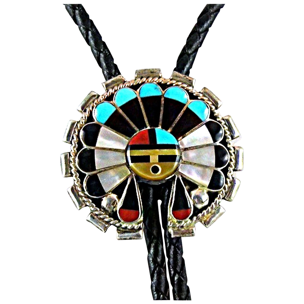 Vintage Zuni Inlay Bolo Tie with Sun Face Kachina, Native American