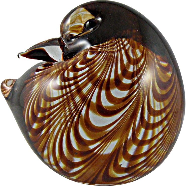 Cenedese Murano Bird Paperweight with Pulled Feather Decor Signed 1981 Bauer