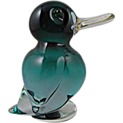 Murano Blue Glass Duck with Long Bill