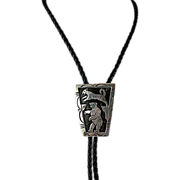 Navajo Sterling Silver Overlay Bolo Tie with Bear and Cougar E Clark Hallmark