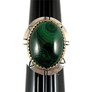 Navajo Malachite Ring with Sterling Silver, Mike Chee Hallmark Size 5 1/4
