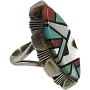 Colorful Navajo Mosaic Inlay Ring for Women with Ray Jack Hallmark Size 4 3/4