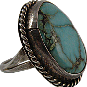 Navajo Turquoise Sterling Silver Ring Size 8 1/2