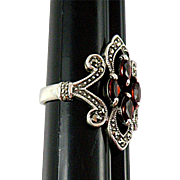 Sterling Silver Filigree Ring with Garnet Glass Crystals Size 6 1/2