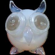 Seguso VdA Murano Opaline Owl Paperweight 1950s Label