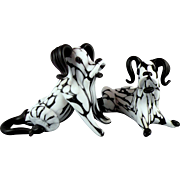 Archimede Seguso Murano Glass Dogs 1950s Bianco Nero Fantasy Series