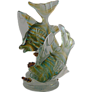 Murano Iridato Double Fish Sculpture by Barbini for VAMSA 1930s