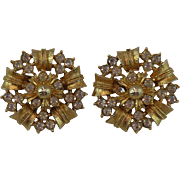 Starburst Floral Clip-on Earrings, Gold-tone with Rhinestones