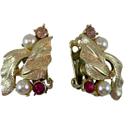 Coro Clip-on Earrings with Rhinestones and Faux Pearls
