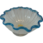 Murano Footed White Latticino Bowl with Blue Rim and Label