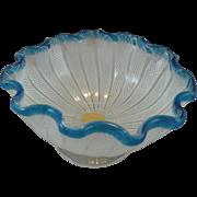 Murano Footed White Latticino Bowl with Blue Rim and Label
