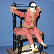 French Mechanical Clown Acrobat on Chair 1890