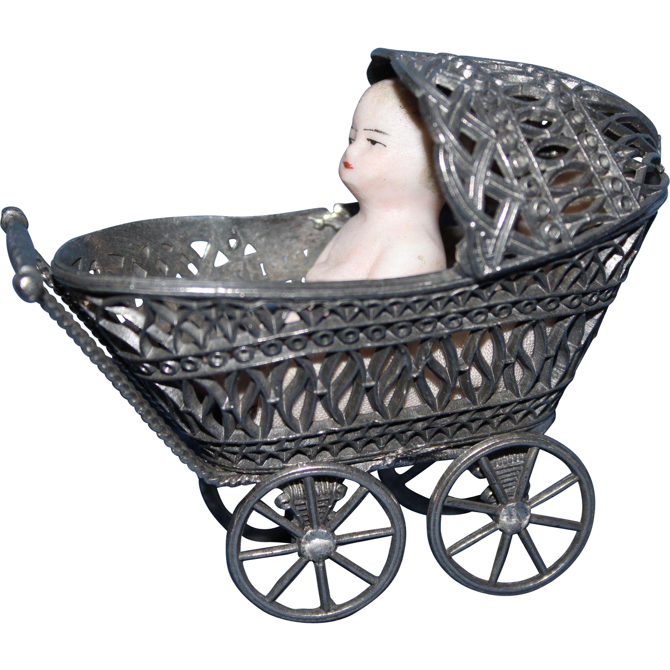 Silver Metal Doll Carriage