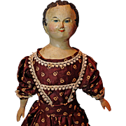 Early Carved Wood Head Doll