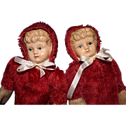 Celluoid Red Teddy Dolls