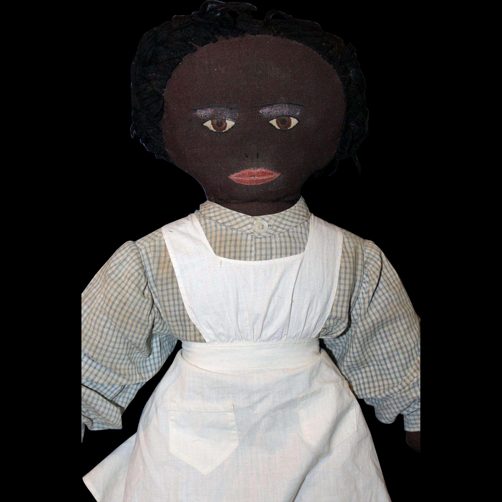 Black Cloth Folk Doll