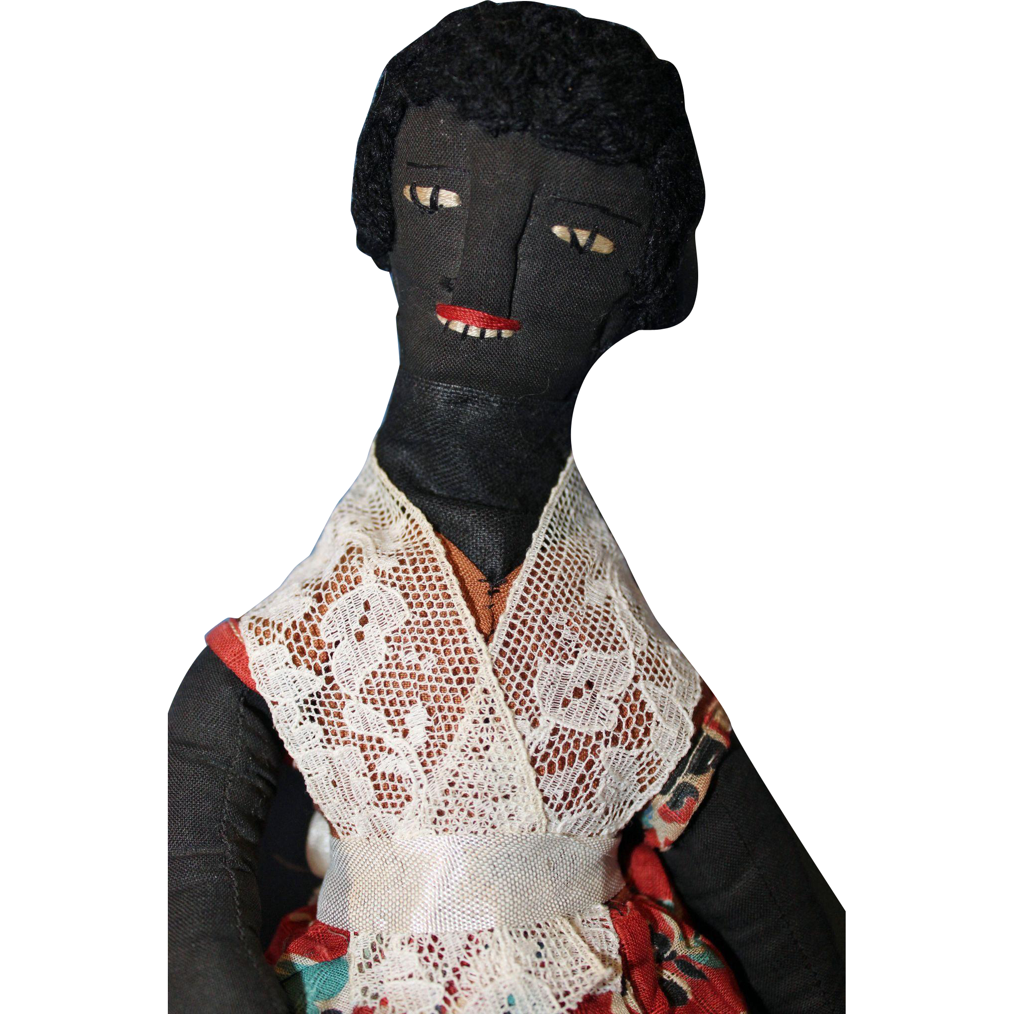 Black Cloth Folk Doll