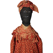 Folk Art Black Broom Doll