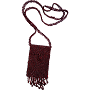 Ruby Red Beaded Doll Purse 1920