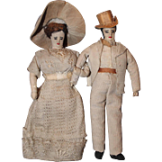 Early All Cloth Doll Couple Embroidered Features