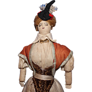 Early all  Cloth Lady Doll with embroidered features