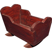 Small Wood Doll Cradle