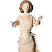 Doll House Lady with full bisque peg jointed arms