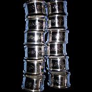1 Dozen Matching Sterling Silver Napkin Rings Sanborn Mexico