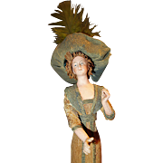 Bisque Figural Lady in Crepe Paper clothing